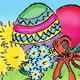 Osterbanner mit vielen Küken, zwei Eiern und einem Hasen