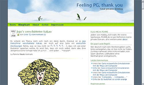 Erinnerungs-Screenshot PG4ME Winter 2007-08 (Ausschnitt, verkleinert)